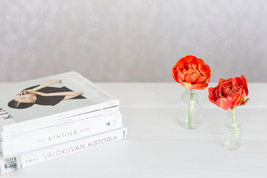 Table with books and flowers