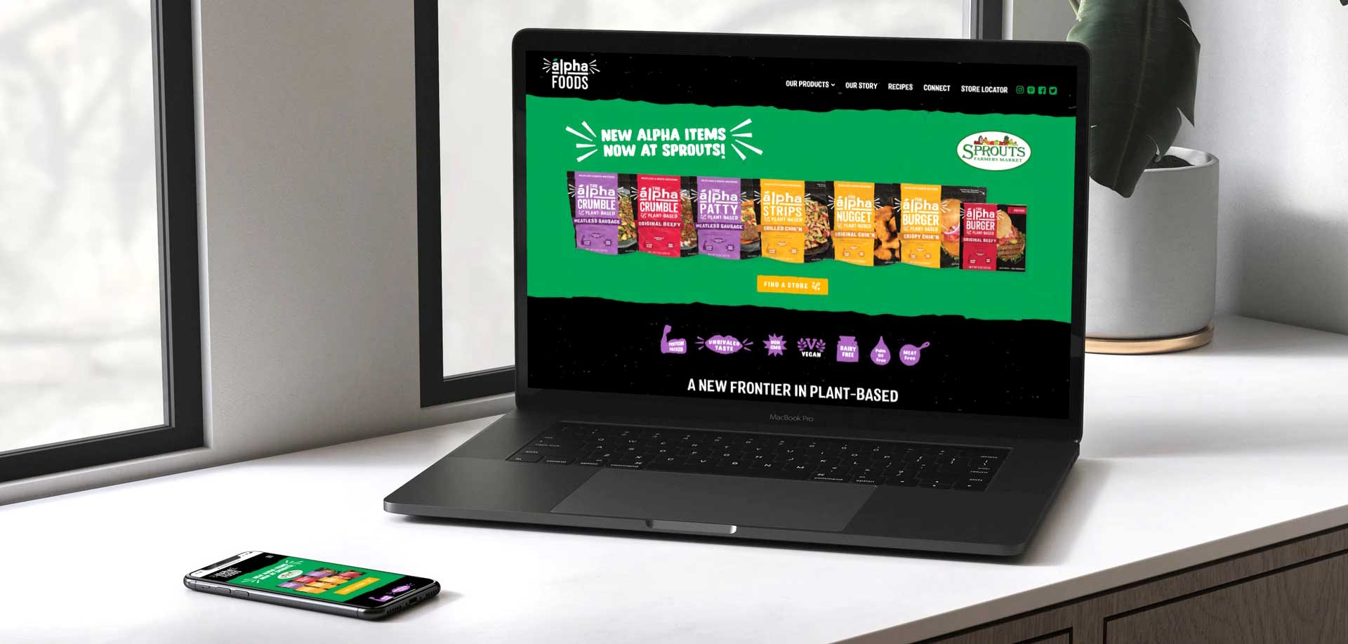 Alpha Foods homepage website shown on a laptop and mobile - White Canvas Design
