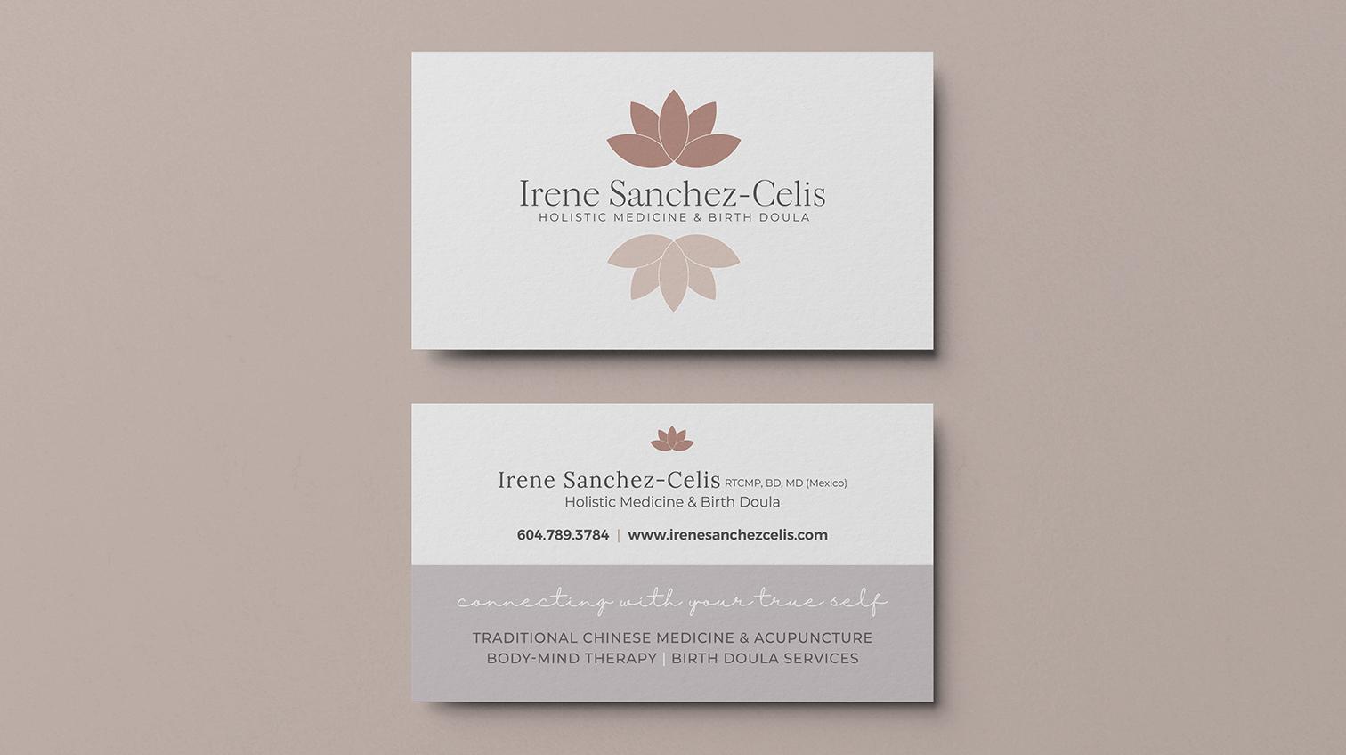 Irene Sanchez-Celis business card design - White Canvas Design