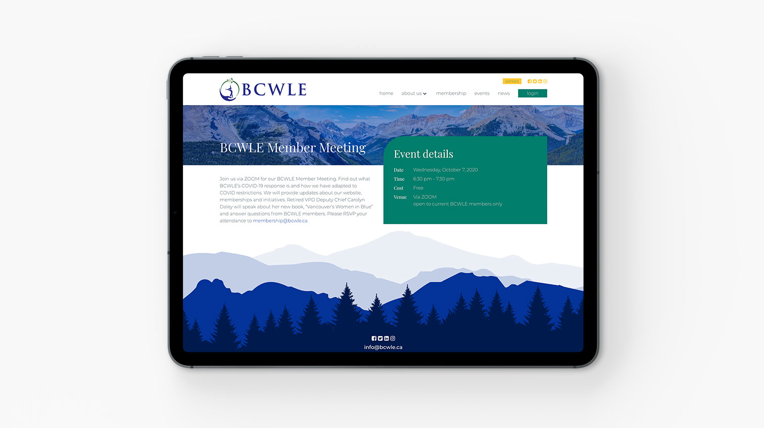 BCWLE website viewed in a tablet device - White Canvas Design