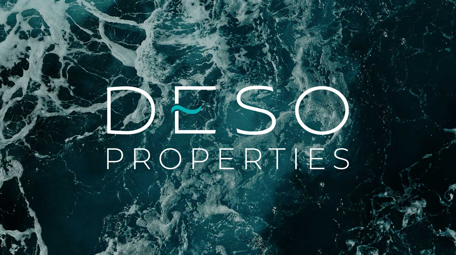 Deso Properties logo against water waves background - White Canvas Design