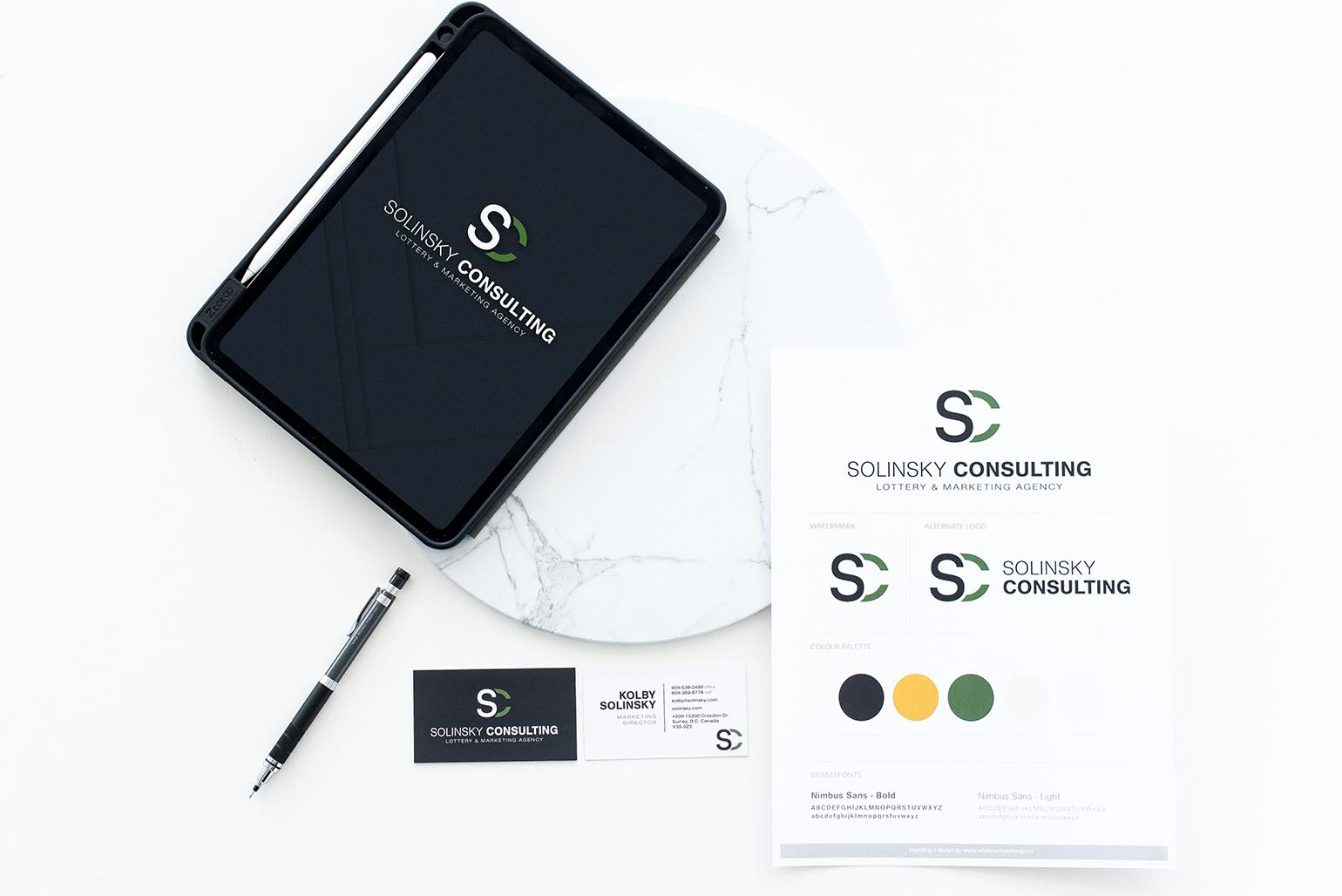 Tablet, stylesheet and business card branding for Solinksky Consulting - White Canvas Design