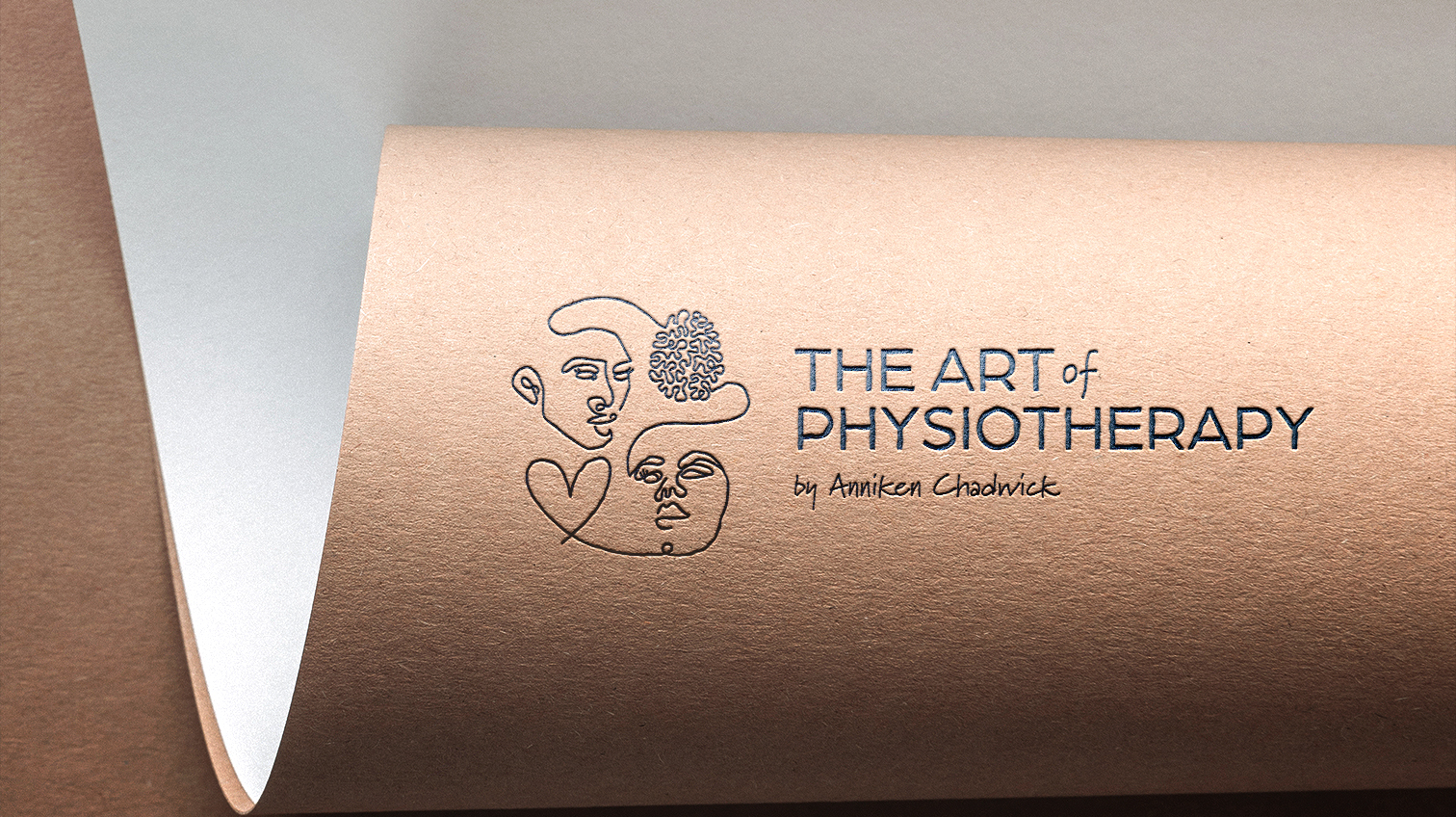 The Art Of Physiotherapy, outline of logo design on kraft paper - White Canvas Design