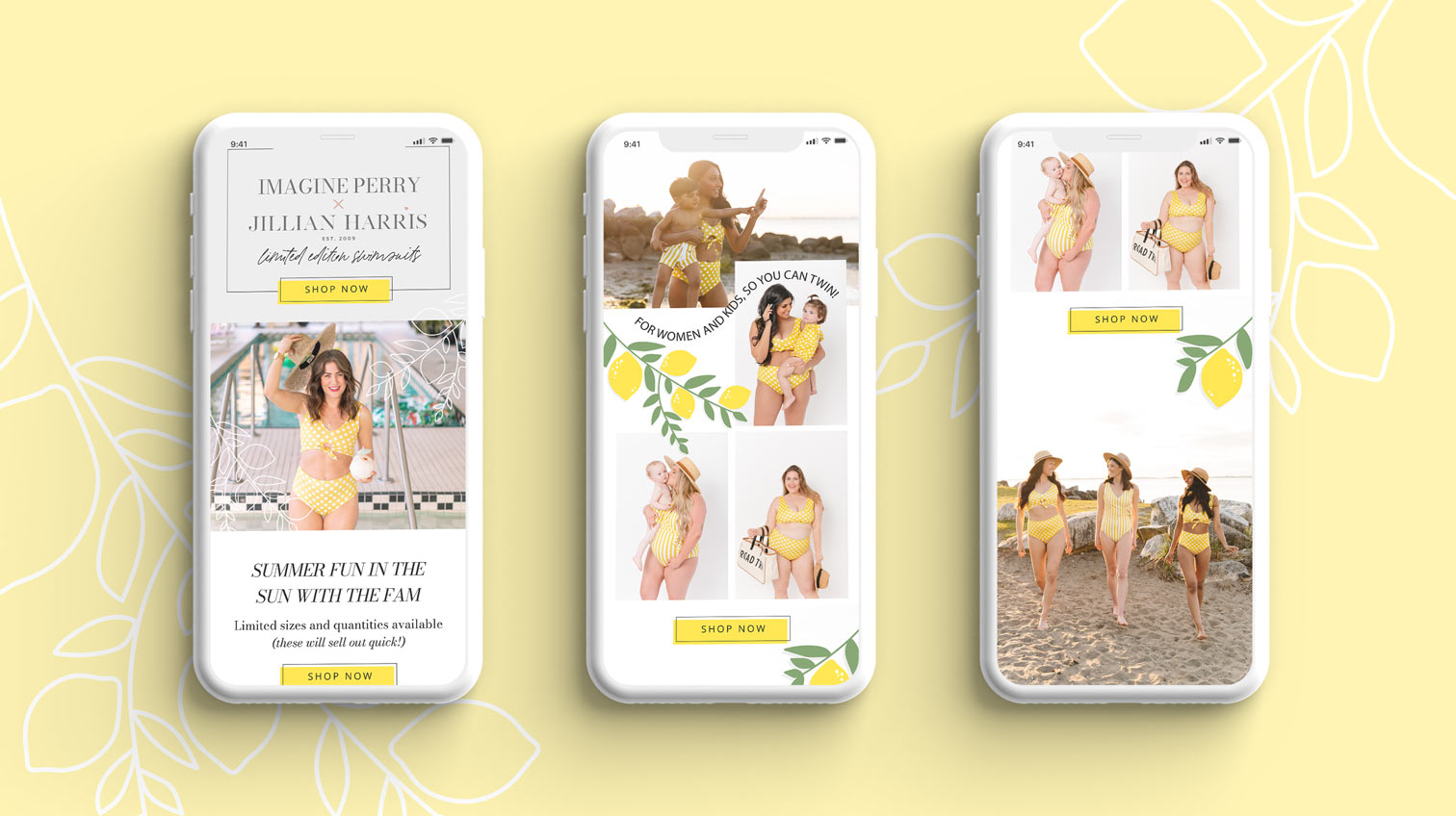 Imagine Perry x Jillian Harris swimsuit collection website on three mobile devices with a yellow background with leaves - White Canvas Design